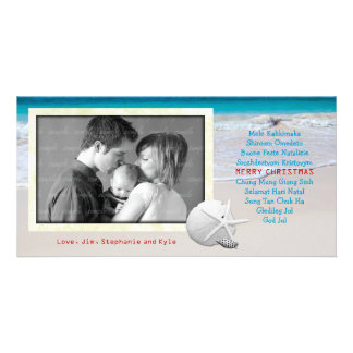 World Languages Merry Christmas Ocean Beach Card Photo Card Template