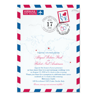 World Locations Italy Wedding Airmail Card