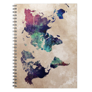 world map 10 spiral notebook