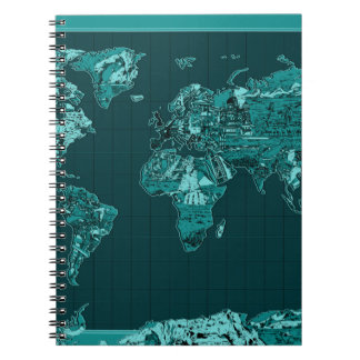 world map 11 spiral notebook