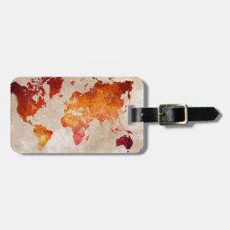 world map 13 luggage tag