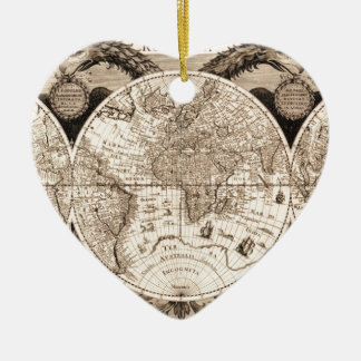 world map 1600 latin original black&white ceramic ornament