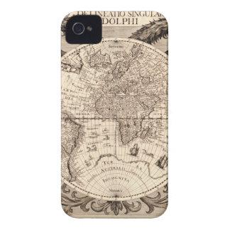world map 1600 latin original black&white iPhone 4 case