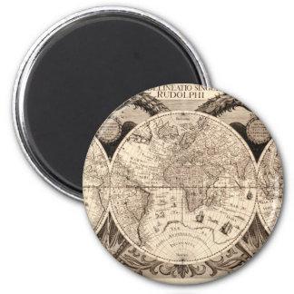 world map 1600 latin original black&white magnet