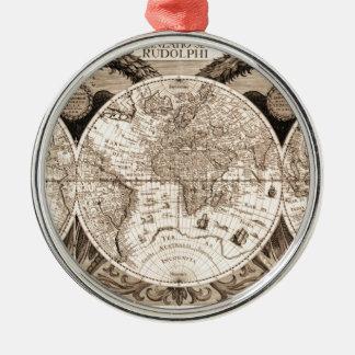 world map 1600 latin original black&white metal ornament