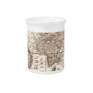 world map 1600 latin original black&white pitcher