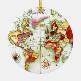 World Map 1675 Ceramic Ornament