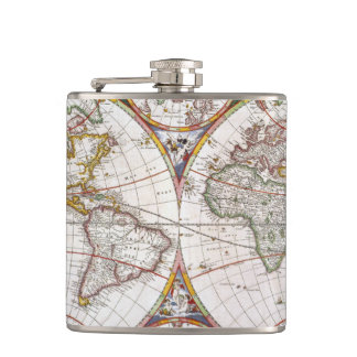 WORLD MAP, 17th CENTURY Flasks