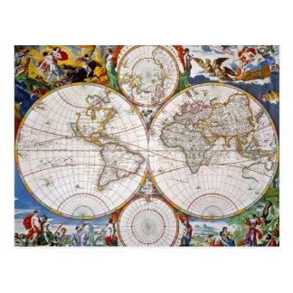 WORLD MAP, 17th CENTURY Postcard
