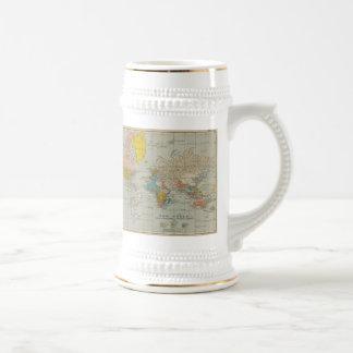 World Map 1910 18 Oz Beer Stein