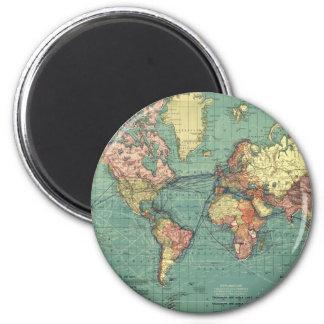 World map 1919 2 inch round magnet