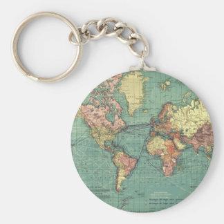 World map 1919 basic round button keychain