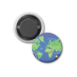 World Map 1 Inch Round Magnet
