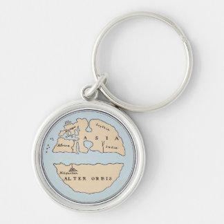 WORLD MAP, 1ST CENTURY Silver-Colored ROUND KEYCHAIN