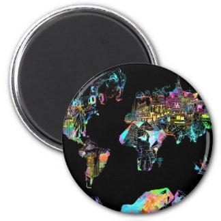 world map 2 2 inch round magnet