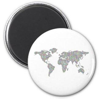World map 2 inch round magnet