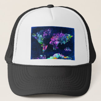 world map 3 trucker hat