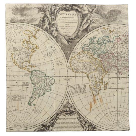 World Map 8 Cloth Napkins