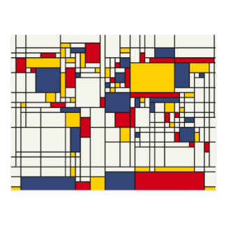 World Map Abstract Mondrian Style Postcard