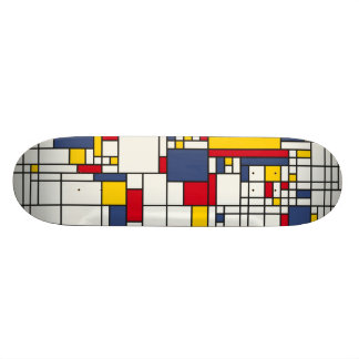 World Map Abstract Mondrian Style Custom Skateboard