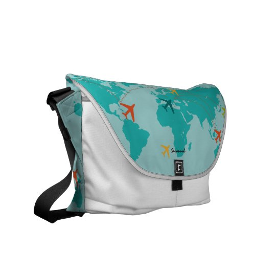 World Map Airplanes Flight Routes Messenger Bag