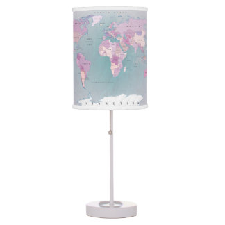 World map all countries pink blue map lamp shade