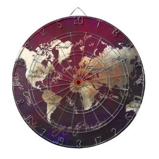 world map art dartboard