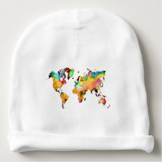 world map baby beanie