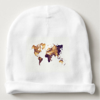 world map baby beanie