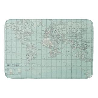 World Map Bath Mat Teal