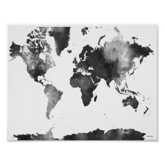 Black and white world map posters zazzle canada world map black and white poster gumiabroncs Image collections