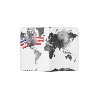 WORLD MAP BLACK and WHITE with USA flag Passport Holder