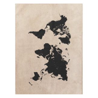 world map black tablecloth
