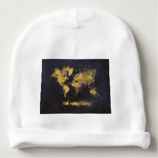 world map black yellow baby beanie