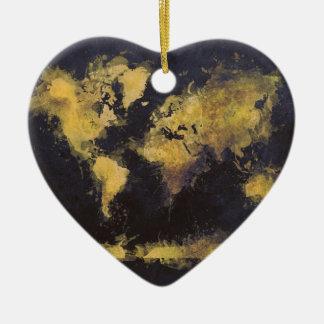 world map black yellow ceramic ornament