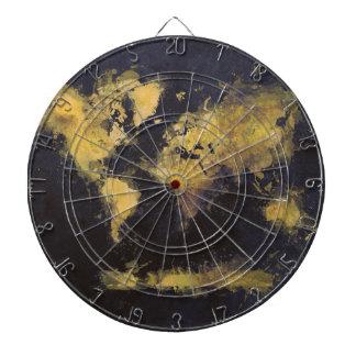 world map black yellow dartboard