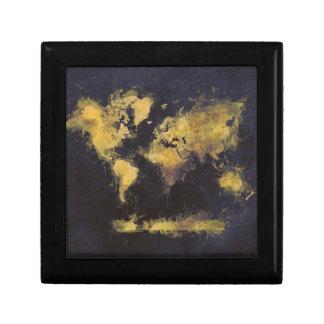 world map black yellow gift box