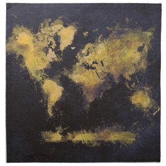 world map black yellow napkin