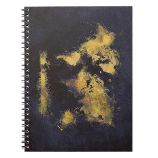 world map black yellow notebooks