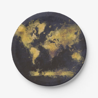 world map black yellow paper plate