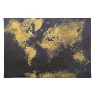 world map black yellow placemat