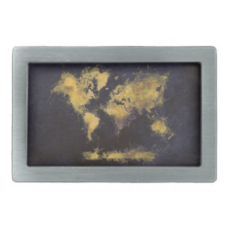 world map black yellow rectangular belt buckles