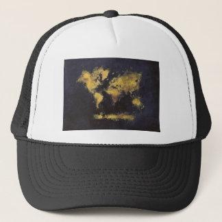 world map black yellow trucker hat