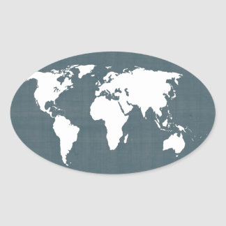World Map . blue and white Oval Sticker