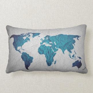 world map blue pillow