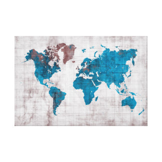 world map blue white canvas print