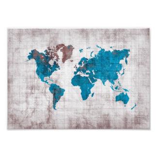 world map blue white photo print