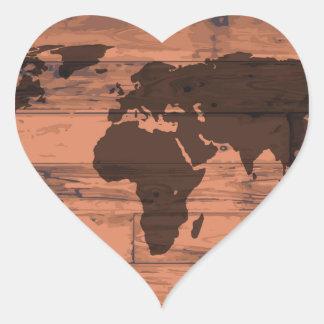 World Map Brand Heart Sticker
