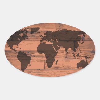 World Map Brand Oval Sticker