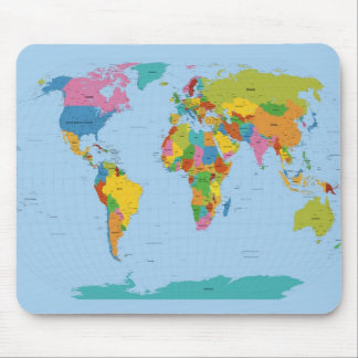 World Map Bright Mouse Pad